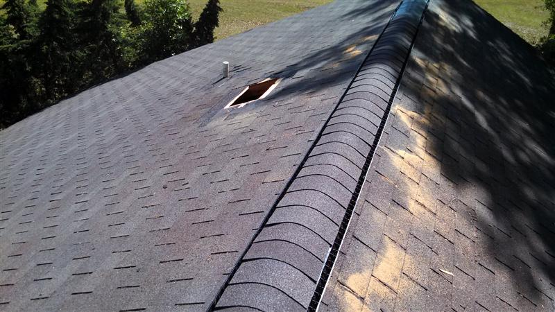 Installing continuous ridge vent stubbs roofing tallahassee for Off ridge vents