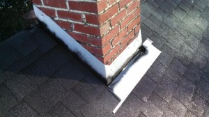 Chimney flashing installed