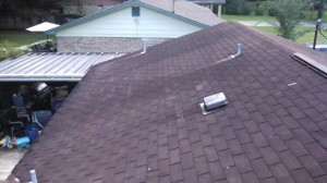 Before: An alternate view of the aged 3-tab shingles.