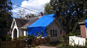 Tarped roof from tree damage